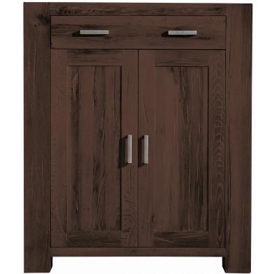Commode rustique 2 portes et 1 tiroir en bois de chêne massif recyclé coloris marron L. 111 x P. 47 x H. 132 cm collection Membury