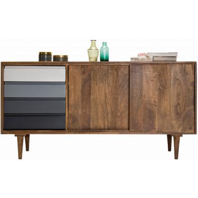 Buffet rustique 2 portes et 4 tiroirs en bois de manguier massif coloris naturel et gris L. 147 x P. 44 x H. 75 cm collection Parcel