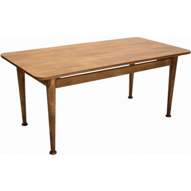 Table à manger rustique en bois de manguier massif coloris naturel L. 180 x P. 90 x H. 76 cm collection Olivetolario