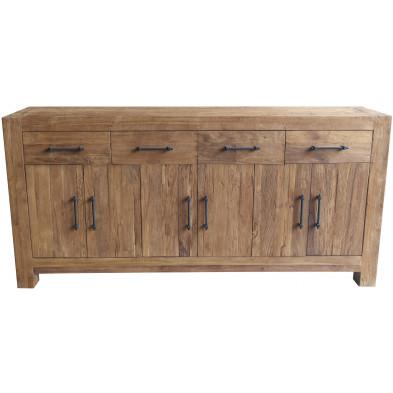 Buffet rustique 6 portes et 4 tiroirs en bois de teck massif coloris naturel L. 210 x P. 50 x H. 100 cm collection Stacee