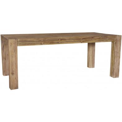 Table à manger rustique en bois de teck massif coloris naturel L. 200 x P. 100 x H. 78 cm collection Valecovo