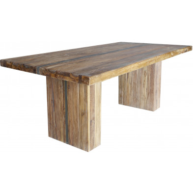 Table à manger rustique en bois de teck massif et acier coloris naturel L. 240 x P. 100 x H. 78 cm collection Laren