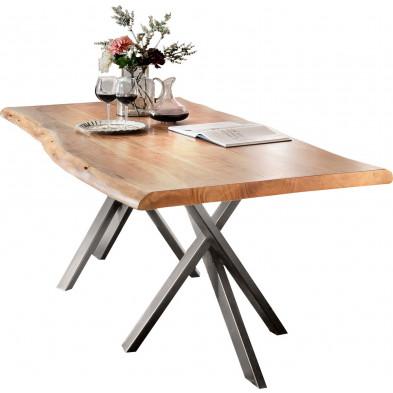 Table à manger rustique en bois massif d'acacia et acier coloris naturel et argenté L. 240 x P. 100 x H. 78 cm collection Cavadispica