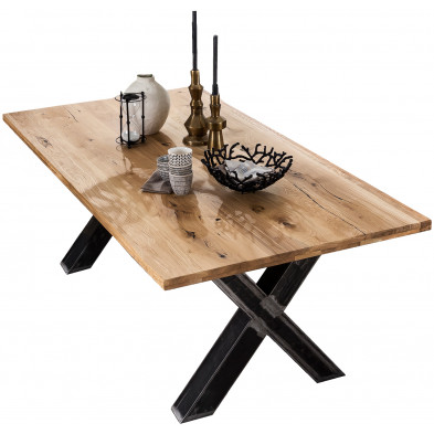Table à manger rustique en bois massif de chêne avec piétement en acier coloris noir L. 220 x P. 100 x H. 75 cm collection Olba