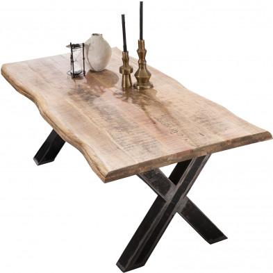 Table à manger rustique en bois  de manguier massif et acier coloris naturel et noir L. 200 x P. 100 x H. 76 cm collection Banfield