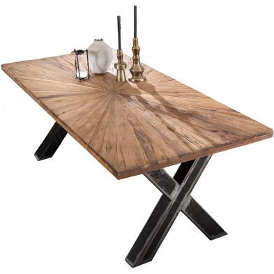 Table à manger rustique en bois de teck massif et acier coloris naturel et noir L. 160 x P. 90 x H. 76 cm collection Merizzo
