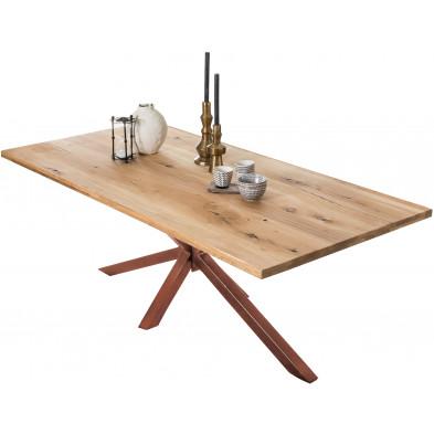 Table à manger rustique en bois massif de chêne avec piétement acier coloris marron  L. 240 x P. 100 x H. 76 cm collection Jacklyn