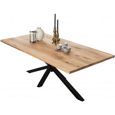 Table à manger rustique en bois massif de chêne avec piétement acier coloris noir L. 240 x P. 100 x H. 76 cm collection Jacklyn