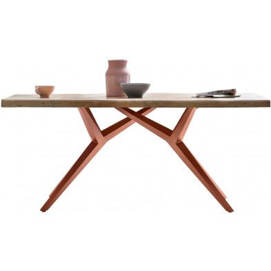 Table à manger rustique avec plateau en bois d'acacia massif et piétement en acier coloris marron antique L. 180 x P. 100 x H. 78 cm collection Umnny