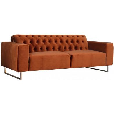 Canapé contemporain 3 places en tissu coloris brun avec piétement en acier L. 219 x P. 86 x H. 77 cm collection Nyund