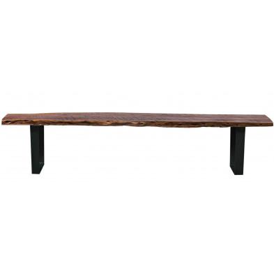 Banc de salle à manger en bois massif d'acacia et piétement en acier coloris noyer ciré et noir antique L. 150 x P. 40 x H. 46 cm collection Ingelmunster