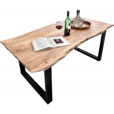 Table à manger contemporaine en bois massif d'acacia et piètement en acier coloris naturel et noir L. 140 x P. 80 x H. 78 cm collection Balance