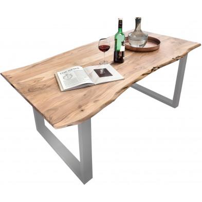 Table à manger contemporaine en bois massif d'acacia et acier coloris naturel et argenté  L. 200 x P. 100 x H. 78 cm collection Vorden
