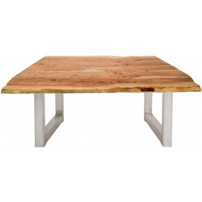 Table basse rustique en bois massif d'acacia et acier coloris naturel et argenté L. 120 x P. 80 x H. 45 cm collection Belalcazar