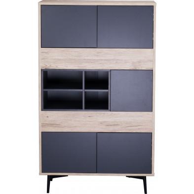 Commode scandinave 5 portes et 4 niches ouvertes en bois MDF et acier coloris gris anthracite et naturel L. 78 x P. 39 x H. 130 cm collection Poore