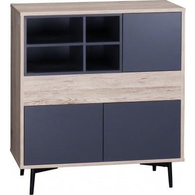 Commode scandinave 3 portes et 4 niches ouvertes en bois MDF et acier coloris gris anthracite et naturel L. 78 x P. 39 x H. 87 cm collection Poore