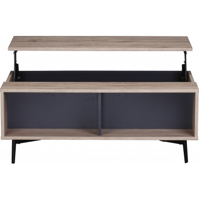 Table basse scandinave en bois MDF et acier coloris gris anthracite et naturel L. 100 x P. 58 x H. 39 cm collection Poore