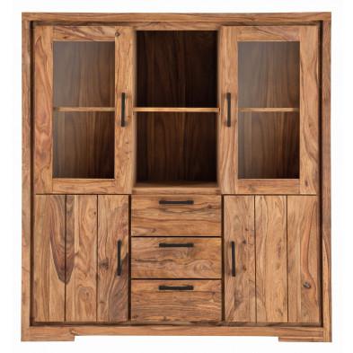 Vitrine rustique 4 portes dont 2 vitrées et 2 niches ouvertes et 3 tiroirs en bois de Sheesham massif coloris naturel L. 140 x P. 45 x H. 150 cm collection Burghout