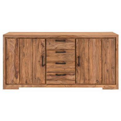 Buffet rustique 2 portes et 4 tiroirs en bois de Sheesham massif coloris naturel L. 176 x P. 45 x H. 85 cm collection Burghout