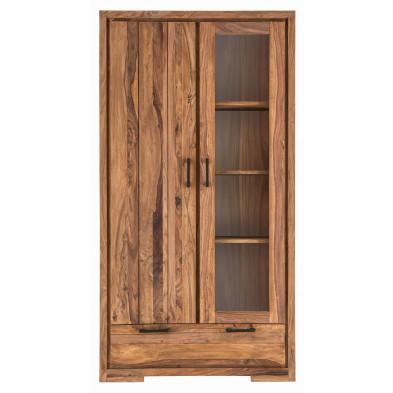 Vitrine rustique à 2 portes dont 1 vitrée et 1 tiroir en bois de Sheesham massif coloris naturel L. 105 x P. 45 x H. 200 cm collection Burghout