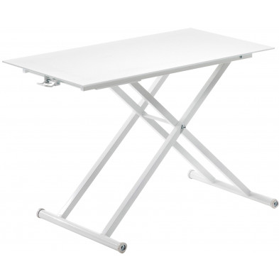 Table basse relevable design blanc en verre et métal L. 110 x P. 60 x H. 39 - 76 cm Collection Lemobe