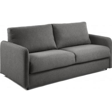 Canapé-lit design gris en tissu,métal et viscoélastique L. 182 x P. 95 - 220 x H. 92 cm Collection Didiane
