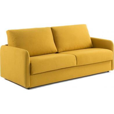 Canapé-lit design jaune en bois,tissu et Viscoélastique L. 202 x P. 95 - 220 x H. 92 cm Collection Didiane