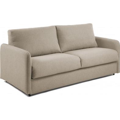 Canapé-lit design beige en bois,tissu et Polyuréthane L. 202 x P. 95 - 220 x H. 92 cm Collection Didiane