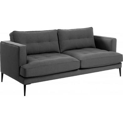 Canapé lit design gris en tissu,métal et mousse L. 183 x P. 72 x H. 77 cm Collection Metcalf