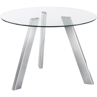 Table à manger ronde design argenté en verre et métal L. 110 x P. 110 x H. 75 cm Collection Steenbakkers