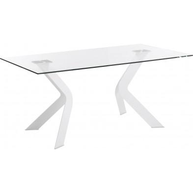 Table à manger design blanc en verre et métal  L. 150 x P. 90 x H. 76 cm Collection Soothe