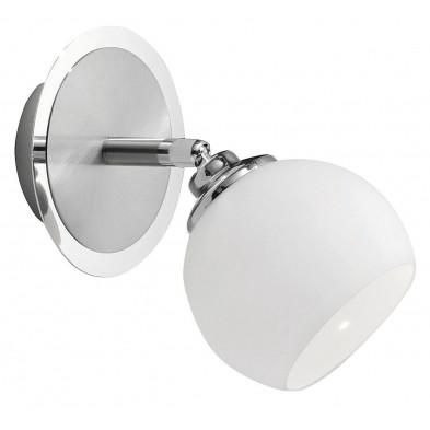 Applique murale LED moderne blanc en acier chromé et verre opale d'une longueur de 11 cm Collection Castrojeriz