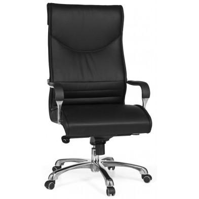 Chaise et fauteuil de bureau noir design en pvc L. 61 x P. 60 x H. 119-125 cm collection Aysenur