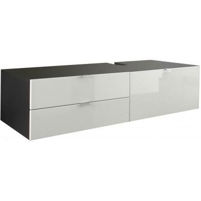 Meuble sous vasque de salle de bain coloris gris et blanc laqué L. 140 x P. 53 x H. 35 cm collection Oostvoorne