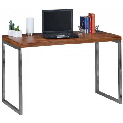 Bureau marron contemporain en acier 120 cm de largeur L. 120 x P. 60 x H. 76 cm collection Vandenbergh