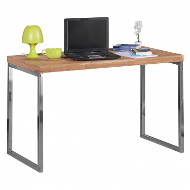 Bureau marron contemporain en acier  L. 120 x P. 60 x H. 76 cm collection Vandenbergh
