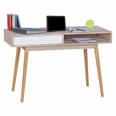 Bureau contemporain beige scandinave en placage chêne L. 120 x P. 55 x H. 79 cm collection Benthuizen