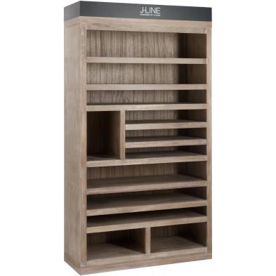 Rangement marron contemporain en bois massif 116 x 48 x 212 cm collection Huijgens