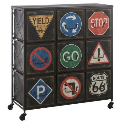 Commode sur roulettes 100 à 9 tiroirs vintage en acier 92 x 37.5 x 100 cm collection Joell