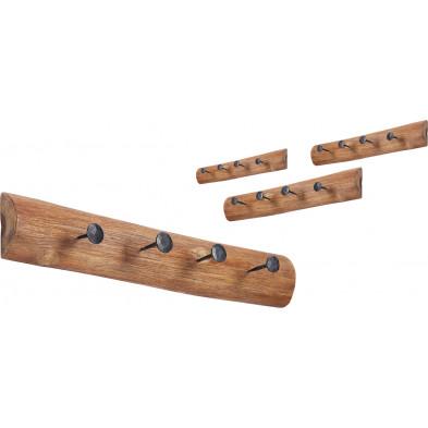 Lot de 4 Portes manteau marron rustique en bois massif teck  L. 50 x P. 7 x H. 10 cm collection Nybel