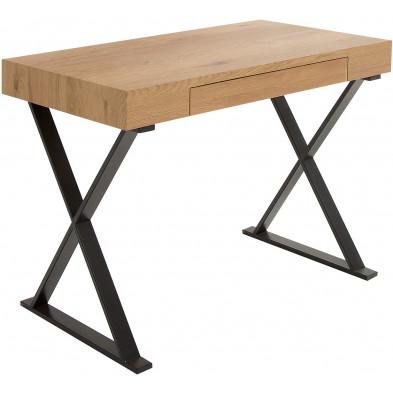 Bureau 1 tiroir design marron moderne en bois mdf L. 100 x P. 55 x H. 75 cm collection Mattinella