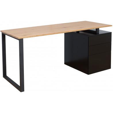 Bureau design coloris plateau marron et 3 tiroirs en noir en bois mdf et placage chêne L. 160 x P. 70 x H. 75 cm collection Achkalo