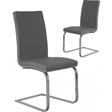 Lot de 2 Chaises de salle à manger moderne Gris Design L. 55 x P. 40 x H. 38 cm collection Breakfast
