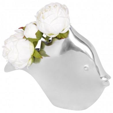 Vase argenté design en aluminium L. 32 x H. 62 cm collection Ayub