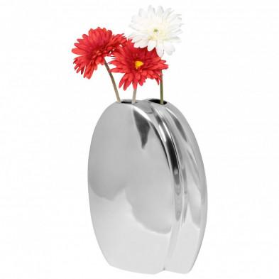 Vase argenté design en aluminium L. 26 x P. 10 x H. 37 cm collection Shenmore