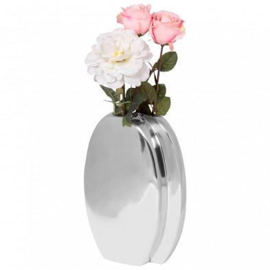 Vase argenté design en aluminium L. 21 x P. 9 x H. 30 cm collection Shenmore