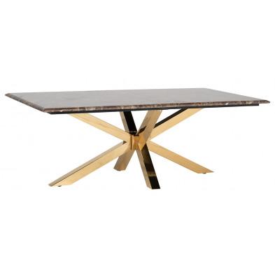 Table basse design plateau en imitation marbre avec piètement en acier inoxydable doré , L. 130 x P. 70 x H. 46 cm collection Conrad Richmond Interiors Richmond Interiors