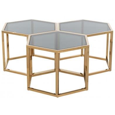 Table basse design or en acier inoxydable et verre, L. 60 x P. 52 x H. 40 cm collection Penta Richmond Interiors Richmond Interiors