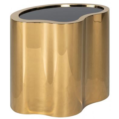 Table basse design noir et or, en acier inoxydable et verre, L. 60 x P. 41 x H. 50 cm collection Marquez Richmond Interiors Richmond Interiors