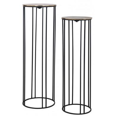 Lot de deux tables d'appoint coloris noir et or industriel en aluminium et fer forgé, L. 30-26 x P. 30-26 x H. 90-79 cm  collection Novan Richmond Interiors Richmond Interiors